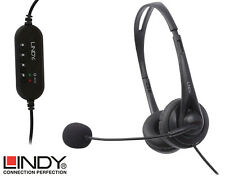 Lindy USB Headset Microphone Wired Computer PC Phone Call Office Skype VoIP Game