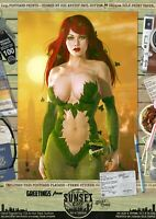 Poison Ivy Gotham Sexy 'Sunset City' Comic Hand Signed A3 Art Print Batman