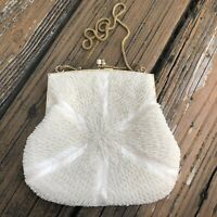 Vtg Cream Floral Starburst Beaded Purse Handbag Evening Bag 50s 60s Hong Kong