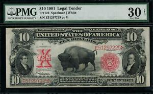"1901 $10 Legal Tender FR-122 - ""Bison"" - Graded PMG 30 EPQ - Very Fine"