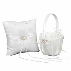 Cute Basket Pillow Set Heart Beads Rhinestones Ivory Satin Wedding Accessories