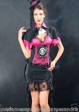 HALLOWEEN COSTUME WOMAN BURLESQUE FANCY DRESS VAMPIRE OUTFIT FASCINATOR DRACULA