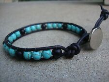 Men's Turquoise and Matte Black Agate 6mm Bead Wrap Bracelet Wristband USA