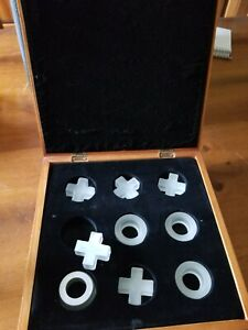 Very nice Glass Tic Tac Toe Game in mirrored wooden box