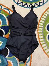 NWOT Lands End Women's Sz 16 Black One Piece Tummy Control Swimsuit Wrap Front