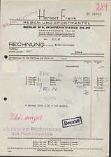 BERLIN W 8, Rechnung 1943, Regen- und Sportmäntel-Hersteller Herbert Frank