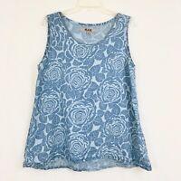 Flax Blue Rose Printed Tank Blouse 100% Linen Lagenlook Women's Small