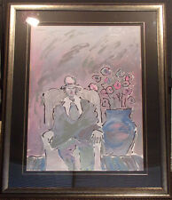 """Peter Max """"Seated Man"""" Hand Signed 1981 Serigraph, Custom Framed, Make an Offer!"""