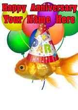 PESCE D'ORO FELICE ANNIVERSARIO Partito Cappello carta codice 7 carte personalizzato Saluti