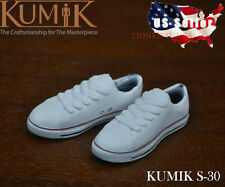 "1/6 KUMIK Women Converse Sneakers WHITE S30 For 12"" Hot Toys Phicen Female USA"