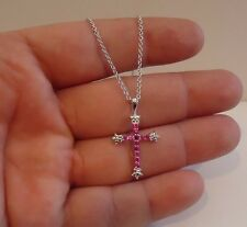CROSS NECKLACE PENDANT W/ 1 CT LAB DIAMONDS & RUBY / 925 STERLING SILVER /17''