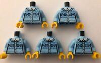 LEGO 5 x Torsos Bright Light Blue Jumper Minifigure Torso Minifig Bundle Joblot