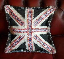 Union Jack Cushion Cover, Handmade Denim & Cotton Patchwork Cushion Cover, Flag