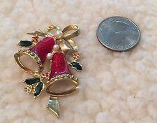 Vintage Gold Tone Faux Pearl Enamel BELL CHRISTMAS PIN