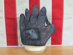 Vintage 1910s Leather Baseball Glove Fielders Mitt 1 Inch Web Antique Display