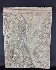 Ancienne cartographie en relief à couches superposées- Tournus Bourgogne ( rare)