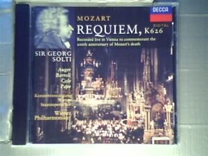 """Mozart: Requiem, K 626 [CD] Georg Solti; Wiener Philharmoniker; Arleen Auger"""