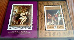 2 x Hungary Souvenir Stamp Sheets  - Painting by Rubens - MNH