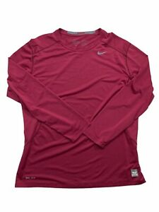 Nike Pro Combat Fitted Dri-Fit Red Long Sleeve Shirt Men's X-Large