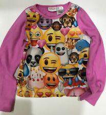 Girls PJ Pajama Top Pink Emojis fleece size 7/8