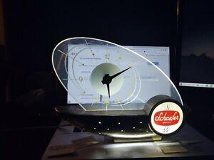 Vintage MCM 1960s Schaefer Beer Sailboat Register Clock Lamp - Atomic Design
