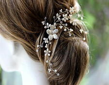 Freshwater Pearl Wedding Hair Accessory Vine on Comb Ivory & Clear Bridal UK