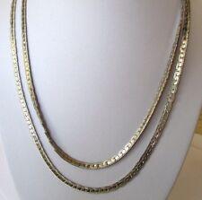 Grand collier chaîne maille plate serpent bijou vintage couleur argent 319