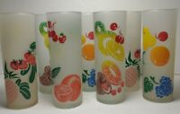 Vintage Federal Highball Glasses Set 7 Tom Collins Fruit Mid Century frosted