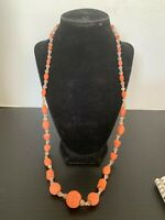 Vintage Carved Faux Coral and Plastic Bead Necklace