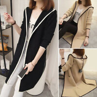 Womens Hooded Cardigan Coat Jacket Outwear Knitted Sweater Long Sleeve Jumper