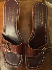 Donald J Pliner Brown Leather Heel Slide Sandals Women's US Shoe Size 8.5