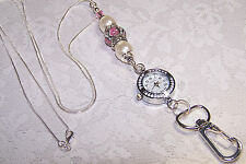 Pink Floral Murano Bead With Pearl and Swarovski  Beaded Lanyard  With Watch