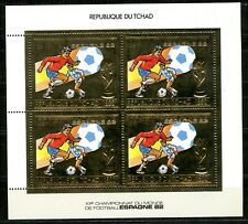TCHAD 1982 Football Coupe Monde Espagne Gold Foil Or Mi 897 A cote 64 euros