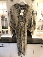 Stunning ZARA Brown Snakeskin Print Midi Batwing Dress L 12-14 New RRP £40