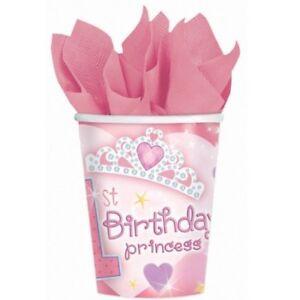 1st Birthday Princess Cups - 18 Pack