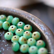 10 About Eve - Czech Glass, Opaque, Opal Jade - Emerald Mix, Rondelle Beads