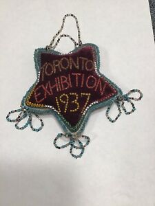 Vintage Native American Indian Beaded Pincushion Toronto Exhibition 1937