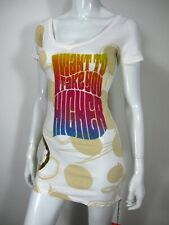 CRYSTAL ROCK NWT SHORT SLEEVE T SHIRT DRESS XS WHITE PRINTED SCOOP NECK 052