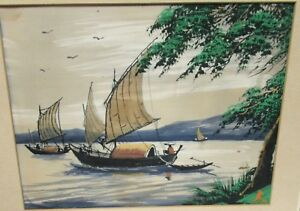 A.N. OLD VIETNAM FISHERMAN WATERCOLOR LANDSCAPE PAINTING SIGNED #2
