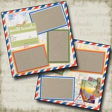 TRAVEL - 2 Premade Scrapbook Pages - EZ Layout 130