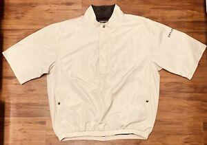 DryJoy by FootJoy Beige 1/2 Zip Pullover Men's Windbreaker Rain Jacket Size XL