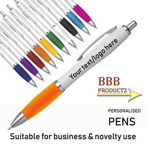 Personalised Engraved Full Colour Curvy Ballpoint Pen - Cheap Promotional Pens