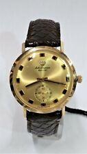 Vintage Jules Jurgensen 14KT Yellow Gold Mens Chronograph Leather Band Watch 34m