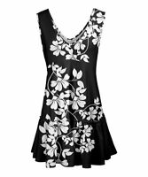 Lily Women's V-Neck Sleeveless Floral Ruffle-He Tunic (Black, XL/16W)