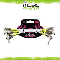 """Ernie Ball 6"""" Flat Angle White Patch Cable 3 Pack - 6052 Pancake Ends"""