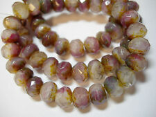 25 Raspberry, White, Purple Picasso Crystal Mix Czech Glass Rondelle Beads 8x6mm
