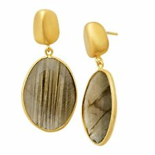 Piara 24 Ct Natural LABRADORITE Drop Earrings in 18k Gold Over Sterling Silver