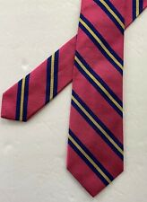 Polo Ralph Lauren Slim Tie Striped Pink Navy Yellow 100%Silk Lined Made in Italy