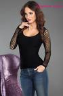Sexy MAGLIA NERA manica lunga RETE taglia S/M, L/XL top donna camicia GLAMOUR