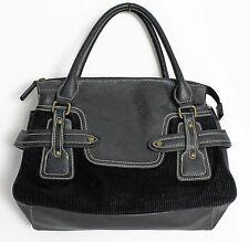 TOMMY HILFIGER Black Corduroy & Leather Satchel Handbag Purse